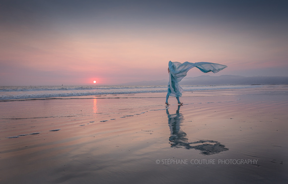 Veiled Lady in the wind, Del Rey, California